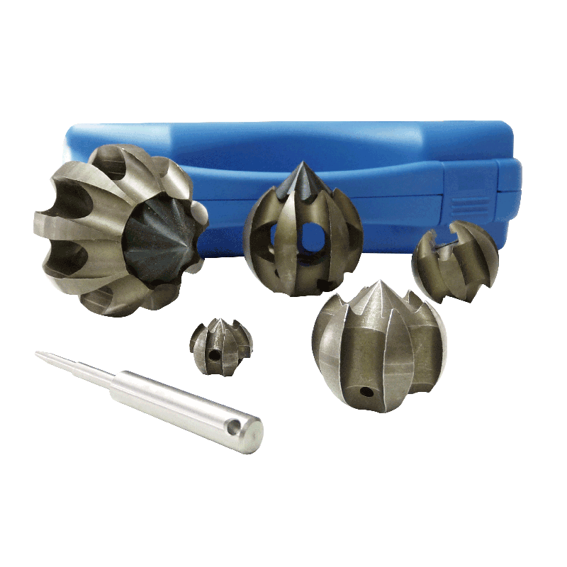 Set of TulipCutters 16/22 16/40 22/40 22/60 and 22/75 with inner universal coupling for 16/22 mm springs incl. coupling pin key and storage box.