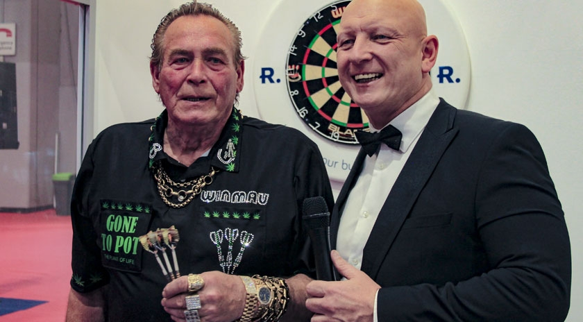 Bobby George and MC Paul Booth on the Rioned Stand